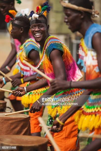 Dancers of the local band Orupaap perform on January 28 during the opening ceremony of the second National Unity Day at the Juba National Football...