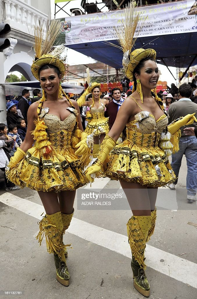 Dancers of the Morenada Central Cocanis de Oruro brotherhood take part in Carnival of Oruro, in the mining town of Oruro, 240 km south of La Paz on February 9, 2013. The Carnival of Oruro was inscribed by UNESCO on the Representative List of the Intangible Cultural Heritage of Humanity in 2008.