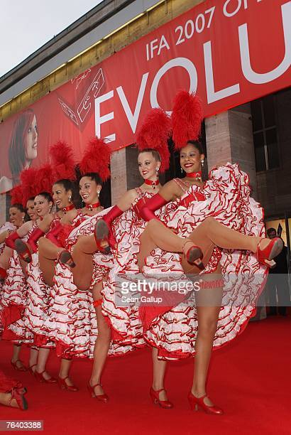 Dancers of the Moulin Rouge attend the opening gala evening of the IFA consumer electronics fair August 30 2007 in Berlin Germany