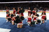 Dancers of the Oilers Octane during the first intermission of a game against the Winnipeg Jets on December 23 2013 at Rexall Place in Edmonton...