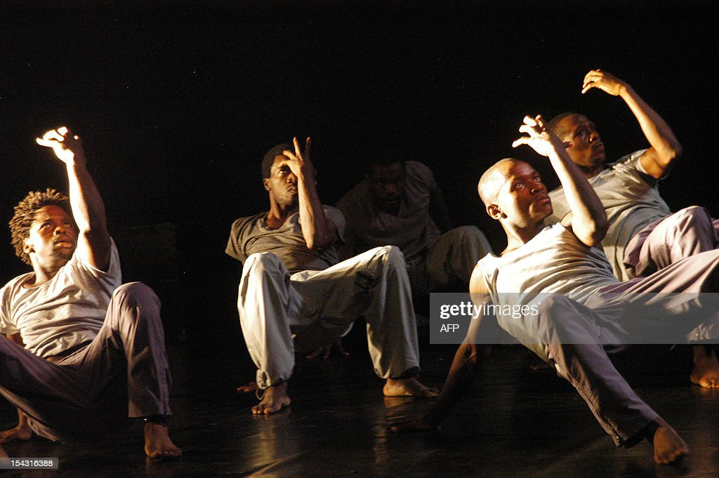 Dancers of the 'Revolution' company perform as they present 'Rage' a show putting together contemporary dance African dance and hip hop at the French...