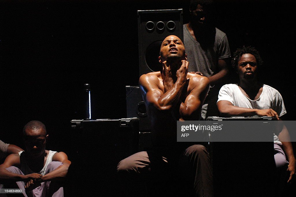 Dancers of the Revolution company perform 'Rage' by French choreographer Anthony Egea at the French Institute in Libreville on October 17 2012 Six...