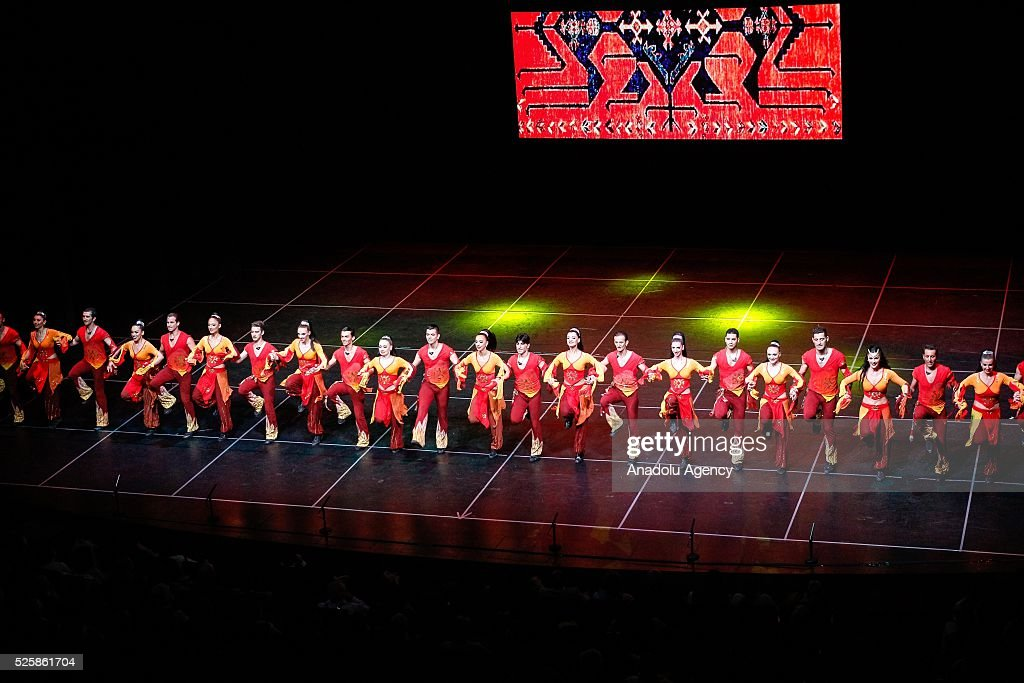 Dancers of Turkish dance troupe Fire of Anatolia (Anadolu Atesi), consisting of 120 dancers and have already seen about 20 million people worldwide, perform their show in Santiago, Chile on April 28, 2016. The group staged their performance for the first time in Chile.