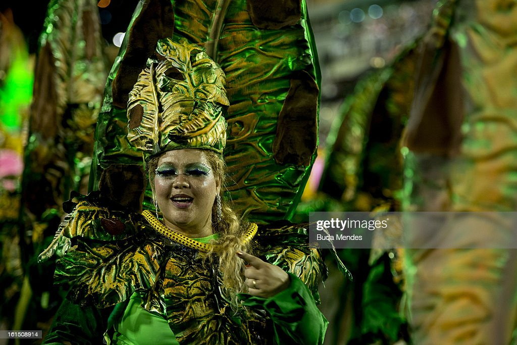 Dancers of Unidos de Vila Isabel during Carnival 2013 at Sambodrome Marques da Sapucai on February 12, 2013 in Rio de Janeiro, Brazil.