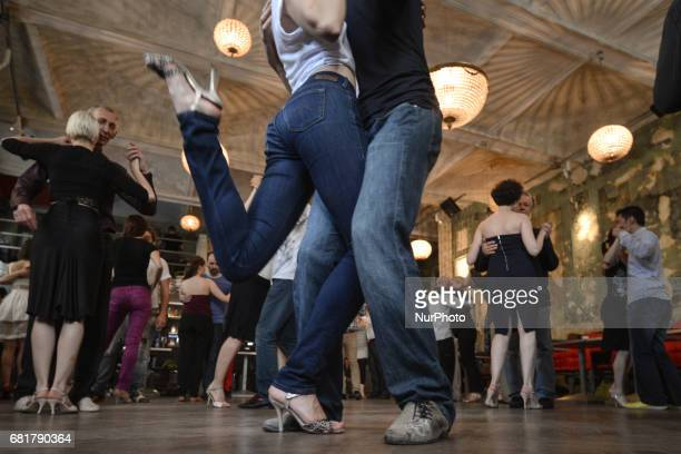 Dancers perfom Argentine tango during an afternoon milonga event in Hevre Pub an event that was a part of Krakus Aires Tango Festival 2017 a...