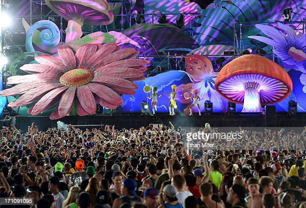 Dancers perfom onstage at the 17th annual Electric Daisy Carnival at Las Vegas Motor Speedway on June 21 2013 in Las Vegas Nevada