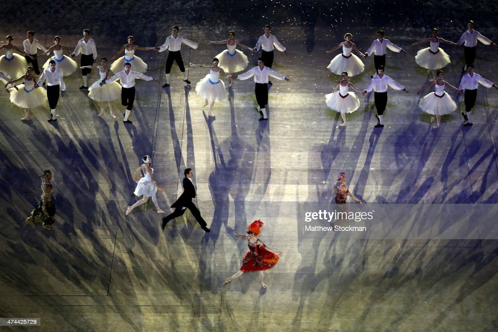 Dancers perform a celebration of Russian ballet during the 2014 Sochi Winter Olympics Closing Ceremony at Fisht Olympic Stadium on February 23, 2014 in Sochi, Russia.