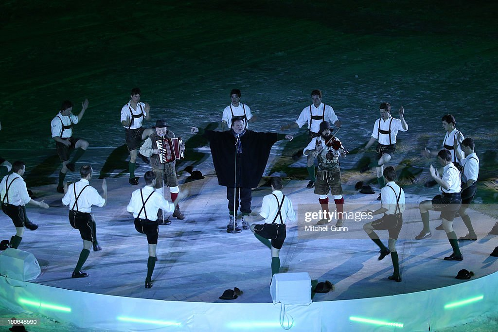 Dancers perform a tradition dance during the opening ceremony for the Alpine FIS Ski World Championships on February 04, 2013 in Schladming, Austria,