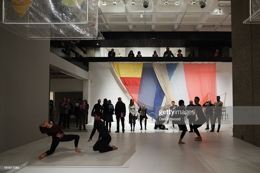 Dancers perform a work by choreographer Merce Cunningham during a press preview of 'The Bride and the Bachelors' exhibition at the Barbican Art Gallery on February 13, 2013 in London, England. The piece makes up a selection of works by artists and choreographers including Marcel Duchamp, Merce Cunningham, John Cage, Robert Rauschenberg and Jasper Johns, and runs at the Barbican Art Gallery until June 9, 2013.