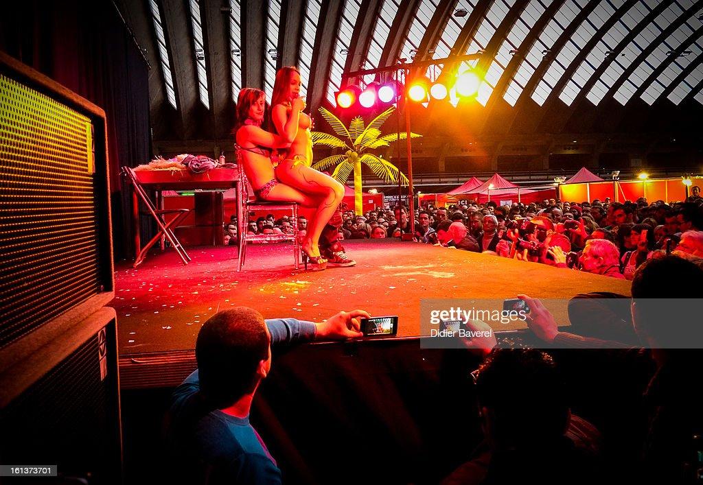 Dancers perform at Eropolis erotic fair at Acropolis on February 10, 2013 in Nice, France.