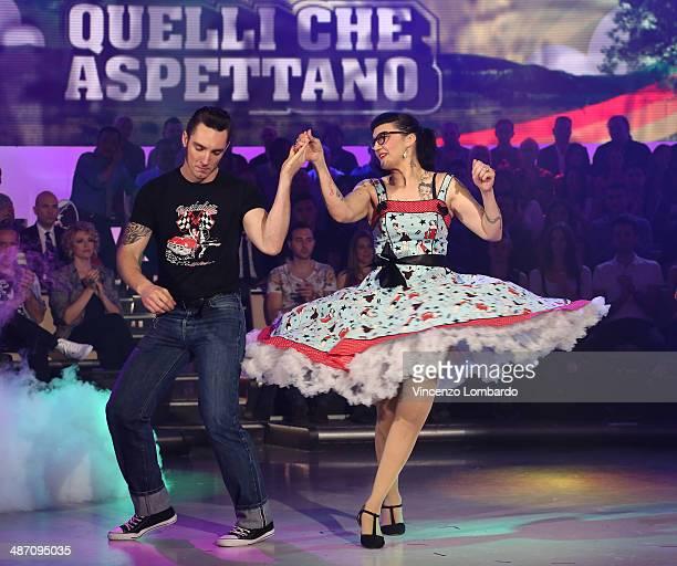 Dancers perform at 'Quelli che il Calcio' TV Show on April 27 2014 in Milan Italy