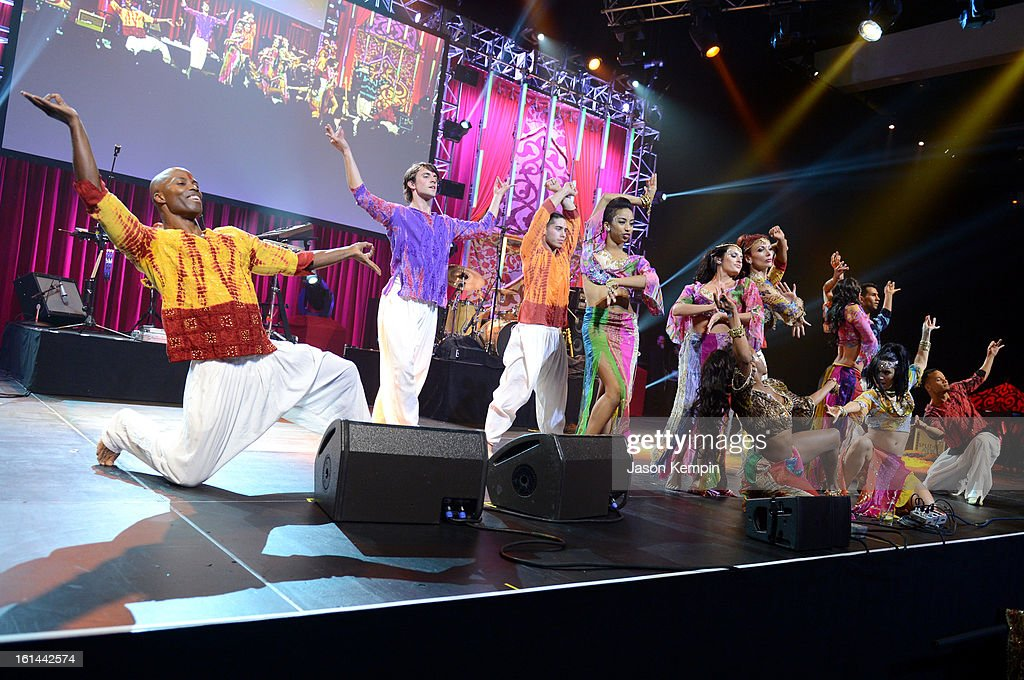 Dancers perform at the 55th Annual GRAMMY Awards after party at the Los Angeles Convention Center on February 10, 2013 in Los Angeles, California.