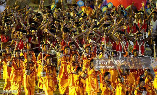 Dancers perform at the Bangabandhu National Stadium for the opening ceremony of the 2011 ICC World Cup on February 17 2011 in Dhaka Bangladesh