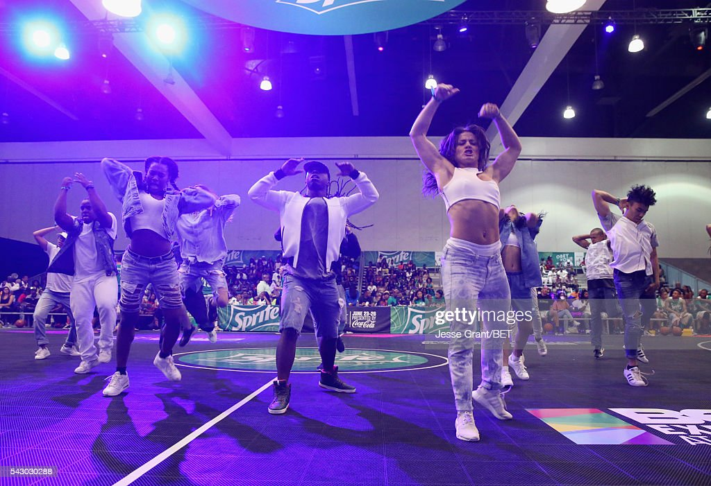 Dancers perform at the celebrity basketball game presented by Sprite during the 2016 BET Experience on June 25, 2016 in Los Angeles, California.