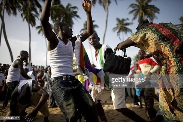 Dancers perform at the Harvest Festival in Otuam Ghana on October 3 2009