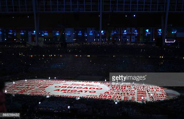 Dancers perform at the 'Love Sport Tokyo 2020' segment during the Closing Ceremony on Day 16 of the Rio 2016 Olympic Games at Maracana Stadium on...