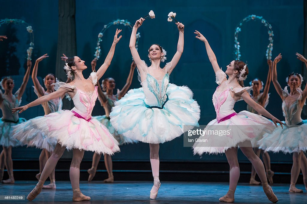 Dancers perform during a press performance of 'Le Corsaire' by the English National Ballet at the Coliseum on January 8, 2014 in London, England.