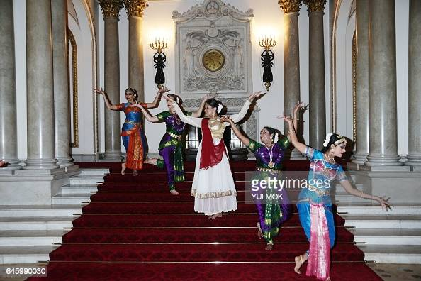 Dancers perform during a reception to mark the launch of the UKIndia Year of Culture 2017 at Buckingham Palace in London on February 27 2017 / AFP /...