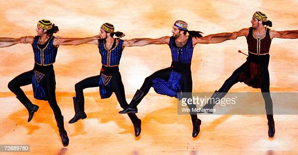 Dancers perform during a rehearsal at Khalifa Stadium for the Opening Ceremony of the 15th Asian Games November 29 2006 in Doha More than 13000...