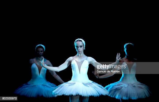 Dancers perform during a rehearsal for 'El lago de Los Cisnes' on June 27 2017 in Madrid Spain