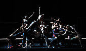 Dancers perform during a rehearsal of the play 'Babel 716' directed by choreographers Sidi Larbi Cherkaoui and Damien Jalet on July 19 2016 at the...
