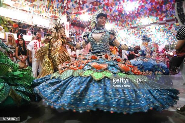 Dancers perform during a traditional Festas Juninas party at the Salgueiro samba school on June 18 2017 in Rio de Janeiro Brazil Rio Mayor Marcelo...