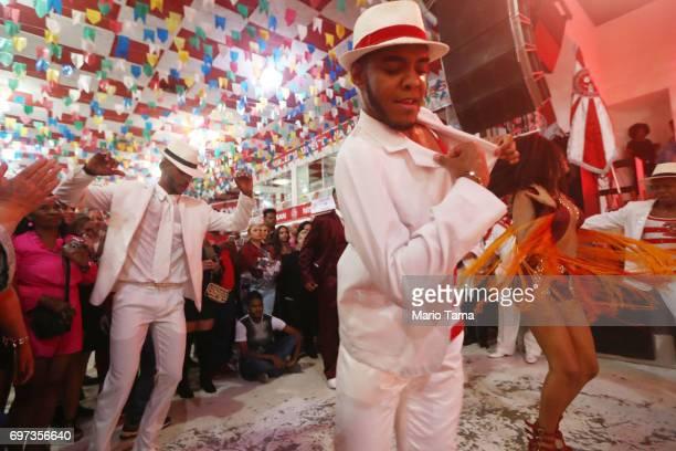Dancers perform during a traditional Festas Juninas party at the Salgueiro samba school on June 17 2017 in Rio de Janeiro Brazil Rio Mayor Marcelo...