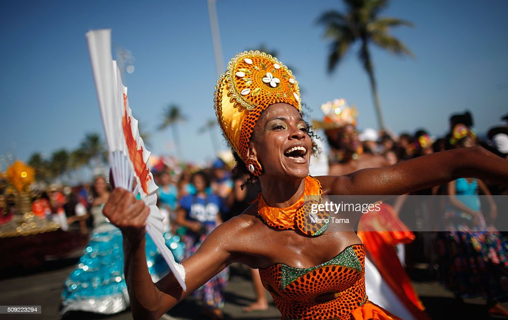 Dancers perform during Carnival celebrations at the Rio Maracatu 'bloco', or street parade, on February 9, 2016 in Rio de Janeiro, Brazil. Festivities have continued throughout major Brazilian cities for Carnival in spite of the threat of the Zika virus. Today is the last official day of Carnival.