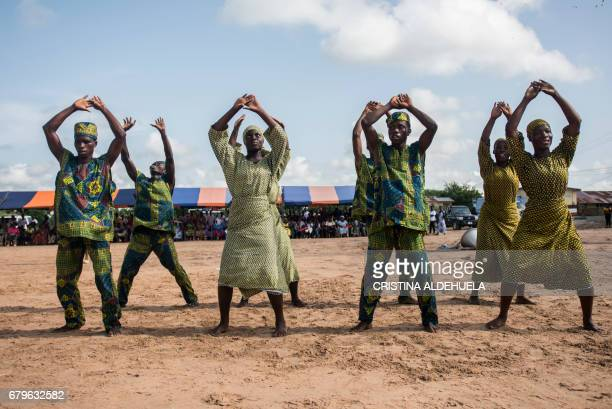 Dancers perform during the Aboakyer Festival parade in Winneba on May 6 2017 The festival is a celebration of the Efufu people and consists of...