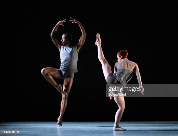 Dancers perform during the Ailey II rehearsal of 'Circular' at NYU Skirball Center on March 29 2017 in New York City