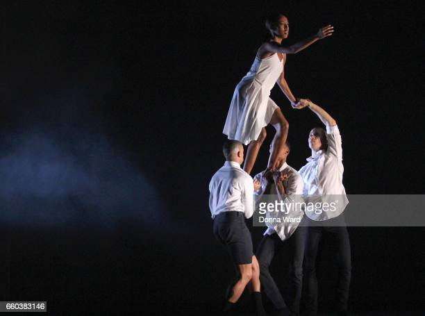 Dancers perform during the Ailey II rehearsal of 'Stream of Consciousness' at NYU Skirball Center on March 29 2017 in New York City