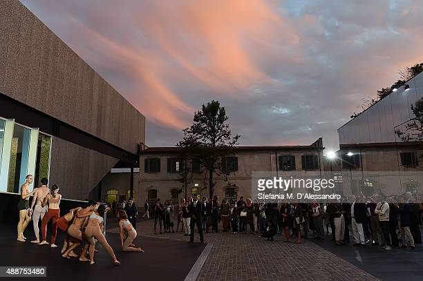 Dancers perform during the 'Atlante Del Gesto' Dance Project at Fondazione Prada on September 17 2015 in Milan Italy