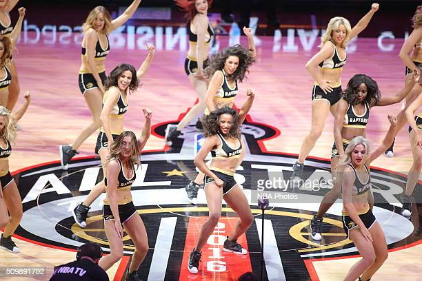 Dancers perform during the BBVA Compass Rising Stars Challenge as part of 2016 NBA AllStar Weekend on February 12 2016 at the Air Canada Centre in...