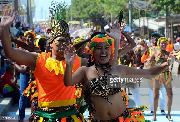 Dancers perform during the carnival parade in Barranquilla Colombia on March 2 2014 Barranquilla's Carnival a tradition created by locals at the end...