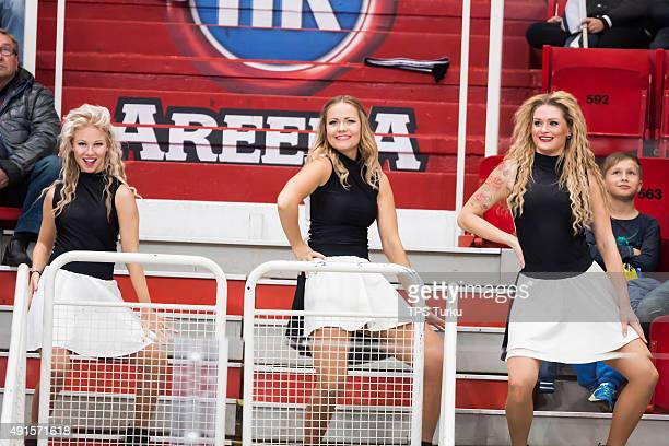 Dancers perform during the Champions Hockey League round of thirtytwo game between TPS Turku and JYP Jyvaskyla at HK Areena on October 6 2015 in...