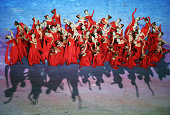 Dancers perform during the closing ceremony of 2014 Summer Youth Olympic Games at Nanjing Olympic Sports Centre on August 28 2014 in Nanjing China