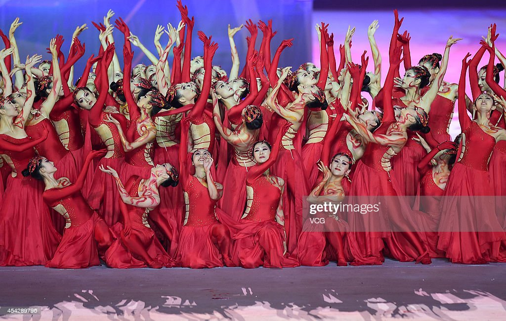 Dancers perform during the closing ceremony of 2014 Summer Youth Olympic Games at Nanjing Olympic Sports Centre on August 28, 2014 in Nanjing, China.