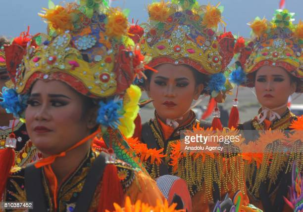 Dancers perform during the cultural ceremony 'Yadnya Kasada' to make an offering to their god at the plateau of Mount Bromo in Probolinggo eastern...