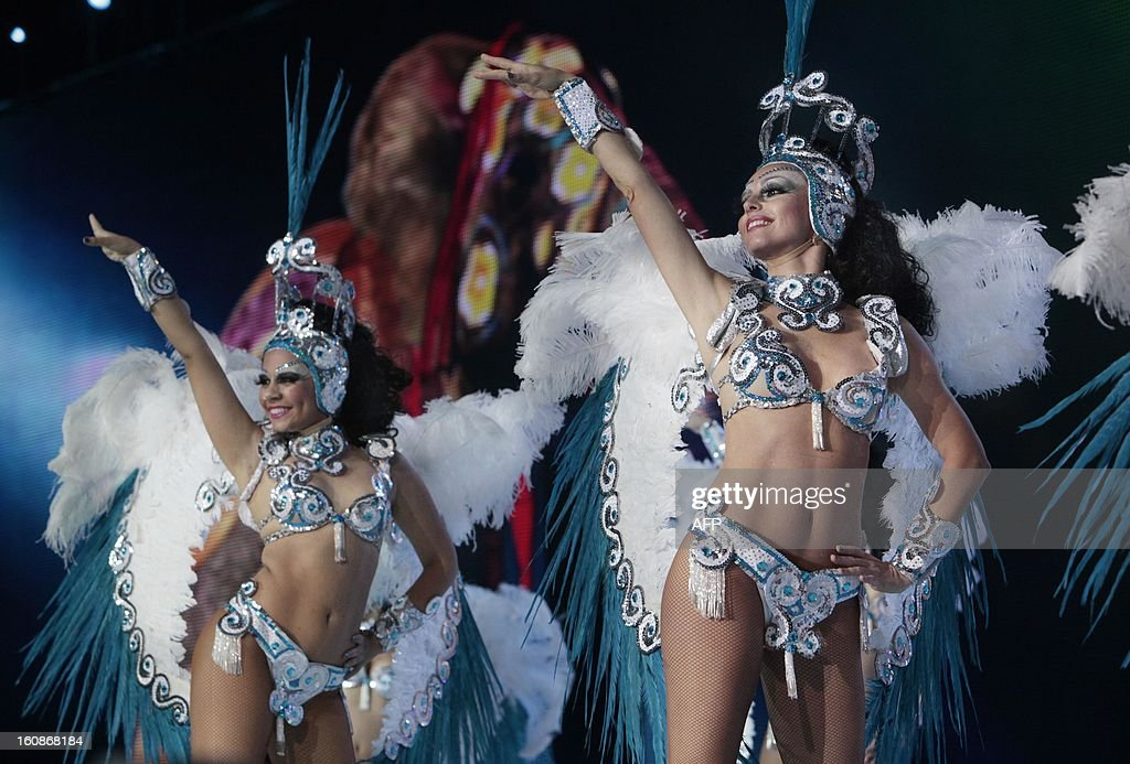 Dancers perform during the election of the Queen of the 2013 Santa Cruz carnival in Santa Cruz de Tenerife on the Spanish Canary island of Tenerife on February 6, 2013.