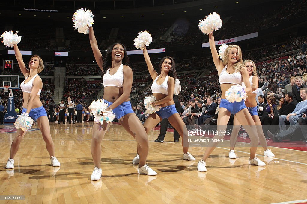 Dancers perform during the game between the Detroit Pistons and the Atlanta Hawks on March 6, 2013 at The Palace of Auburn Hills in Auburn Hills, Michigan.