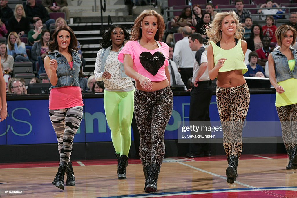 Dancers perform during the game between the Detroit Pistons and the Toronto Raptors on March 29, 2013 at The Palace of Auburn Hills in Auburn Hills, Michigan.