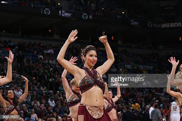Dancers perform during the game between the New York Knicks and Milwaukee Bucks on December 5 2015 at the BMO Harris Bradley Center in Milwaukee...