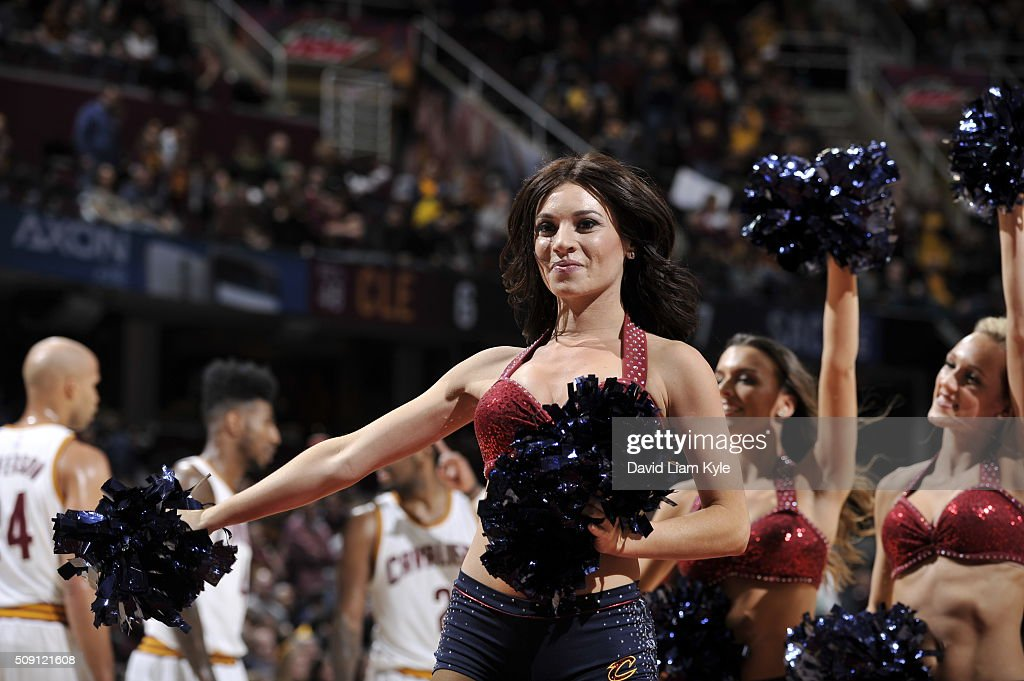 Dancers perform during the game between the Sacramento Kings and Cleveland Cavaliers on February 8, 2016 at Quicken Loans Arena in Cleveland, Ohio.