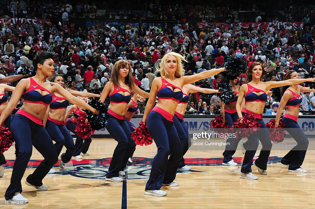 Dancers perform during the Game Three of the Eastern Conference Quarterfinals between the Indiana Pacers and the Atlanta Hawks in the 2013 NBA Playoffs on April 27, 2013 at Philips Arena in Atlanta, Georgia.