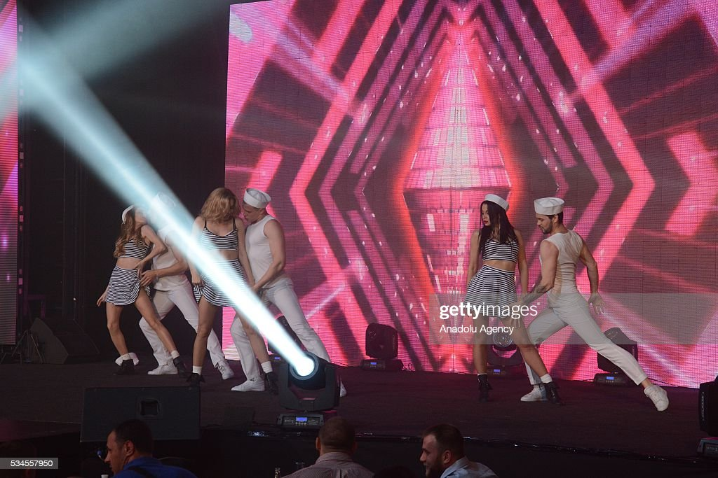 Dancers perform during the 'Miss Blonde 2016' Beauty Contest in Kiev, Ukraine on May 26, 2016. Singers Iryna Bilyk, Nikolay Tishchenko, Boxer Vyacheslav Uzelkov and modeling agency owner Alexander Britain attended to a contest as a Juryman.