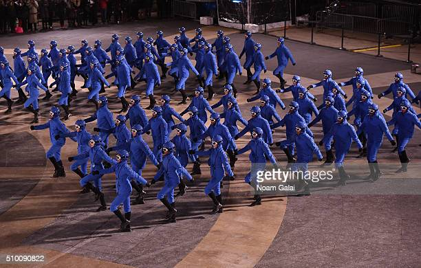 Dancers perform during the Moncler Grenoble FW 1617 presentation during New York Fashion Week at Lincoln Center on February 13 2016 in New York City