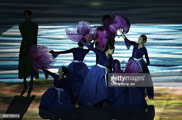Dancers perform during the Opening Ceremony ahead of the 2014 Asian Games at Incheon Asiad Stadium on September 19 2014 in Incheon South Korea