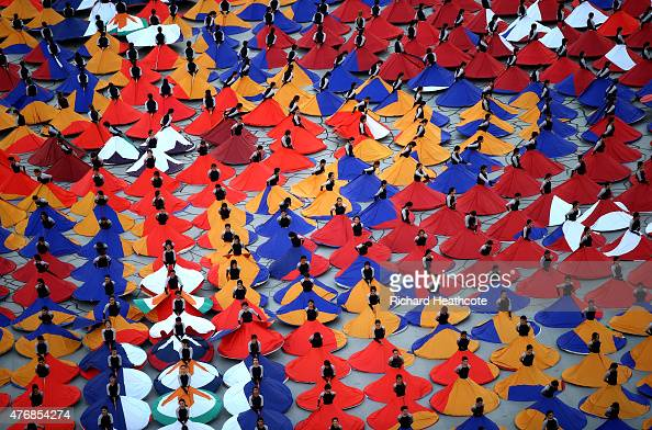 Dancers perform during the Opening Ceremony for the Baku 2015 European Games at the National Stadium on June 12 2015 in Baku Azerbaijan