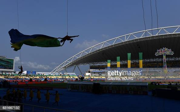 TOPSHOT Dancers perform during the opening ceremony of the 2017 Africa Cup of Nations football tournament at the Stade de l'Amitie SinoGabonaise in...