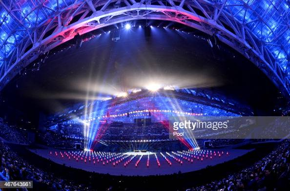 Dancers perform during the opening ceremony of the Sochi 2014 Winter Olympics at the Fisht Olympic Stadium on February 7 2014 in Sochi Russia